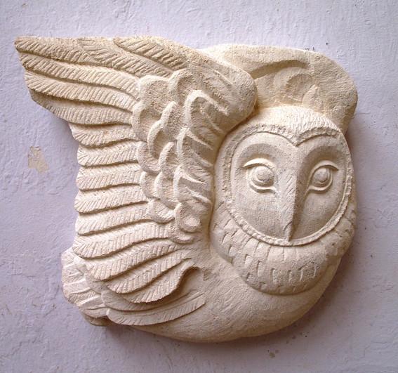 Owl. Carved limestone.