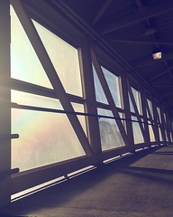 There was a suggestion of a rainbow in the pedestrian bridge across the LIRR this morning.