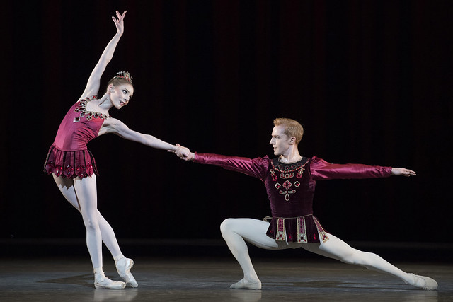 Sarah Lamb and Steven McRae in 'Rubies' from Jewels, The Royal Ballet © 2017 ROH. Photograph by Alastair Muir.