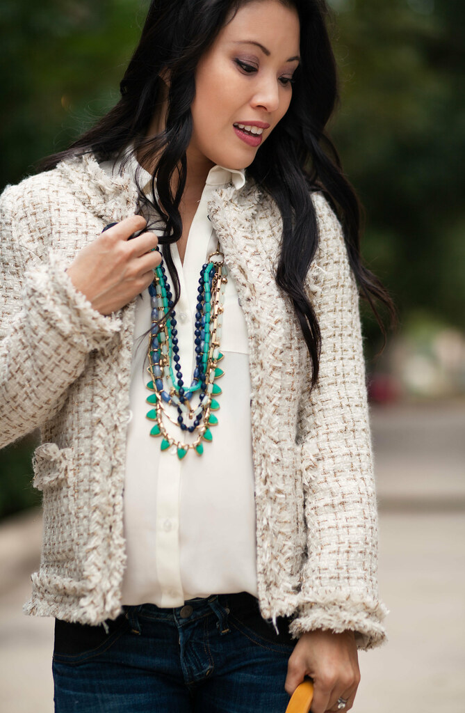 cute & little blog | petite fashion | sheinside chanel-inspired cream gold tweed blazer, the limited ashton blouse, citizens of humanity racer maternity jeans, stella dot sutton necklace, kate spade licorice pumps | maternity baby bump pregnancy | second