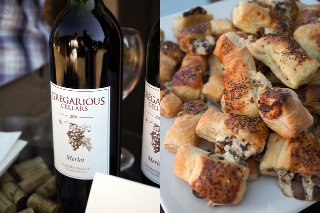 Merlot with Mushroom Cream Cheese Puffs