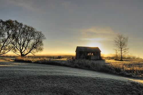 barn sunrise frost algomadistrict jeanpaulphotography ruffledgrousebb