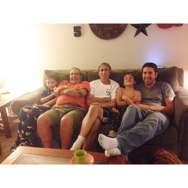 Five Bostinelos Boys sitting on a couch