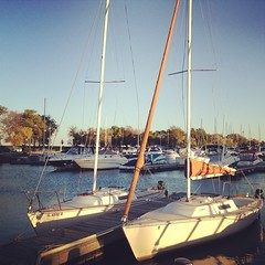 Enjoying a gorgeous fall evening in the harbor. Not too many more of these. #belmontharbor