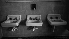 Sinks at an abandoned college, North Island, New Zealand.