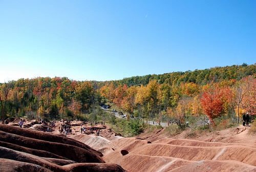 Niagara Escarpment fall backdrop for Chelenham Badlands, Caledon, Ontario