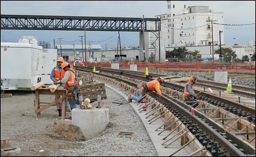 Photo of track hardening at Blake Street and 40th Avenue