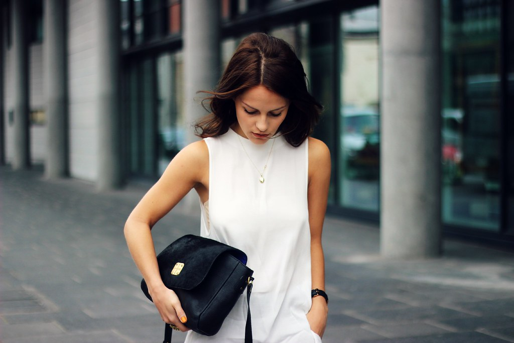 Topshop long white tunic top 4