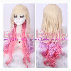 NEW Mar.70cm long zipper multi-color curly cosplay wig ZY04