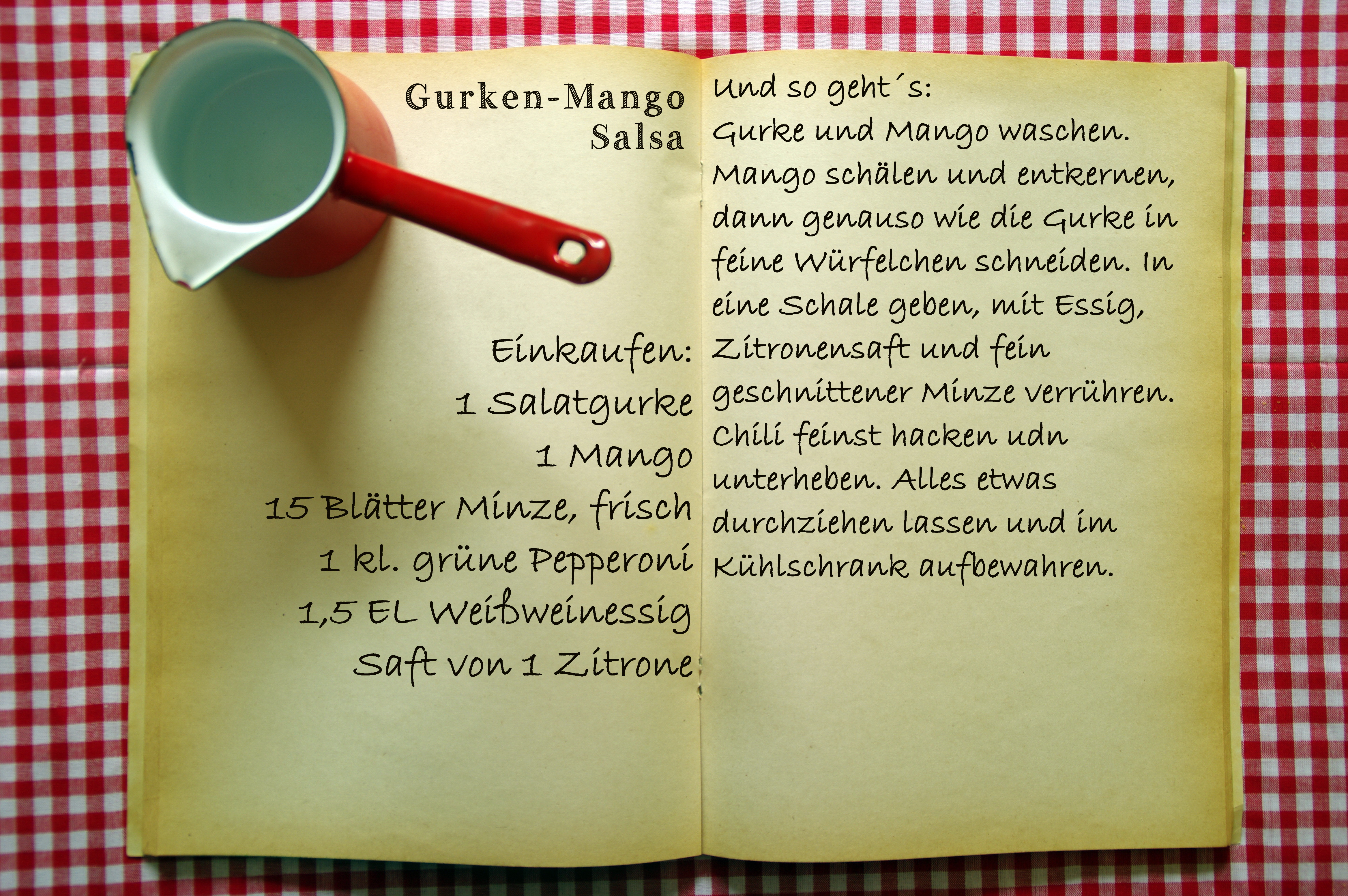 Einkaufszettel Gurken Mango Salsa by Glasgeflüster