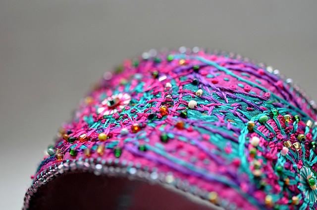fiber art bracelet