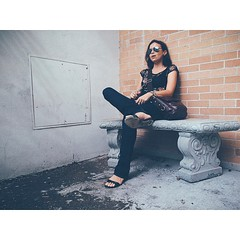 Portrait at the Spot, Daytona Beach. 2014. #daytonabeach #florida #vscocam #thespot #bench #smokingspot #portrait #environmentalportrait #vapor #brick #cement #procamera #vsco #vscogrid #vscophile #vscogood #vsco_hub