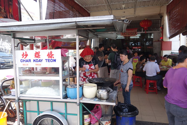 Red Hat Auntie's Char Kway Teow stall at Lorong Selamat, Penang, Malaysia