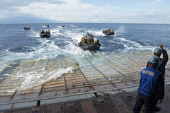 Marines prepare to embark the well deck of USS Germantown (LSD 42) in combat rubber raiding crafts during PHIBLEX training in the Sulu Sea. (U.S. Navy/MC2 Amanda R. Gray)