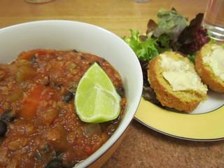 Sweet Potato Lentil Chili; Kinda Corny Muffins