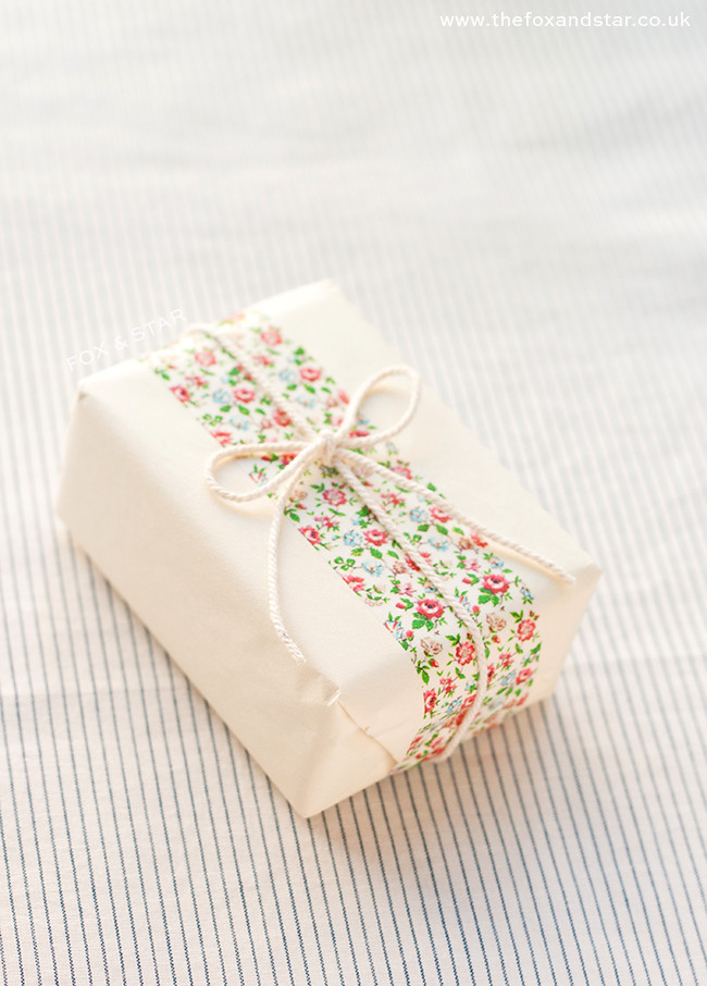cute floral washi tape gift wrap tied up with string :: fox and star blog