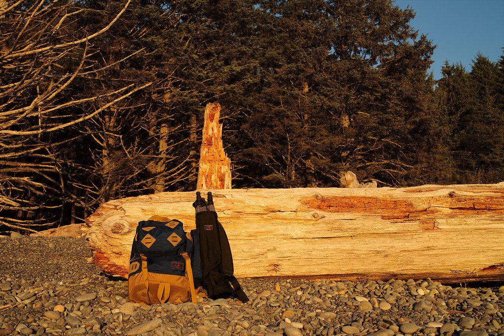 The Tom Bihn Guide's Pack and Tripod Quiver on Rialto Beach