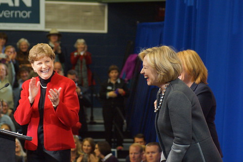 Shaheen, Hillary, Hassan laughing