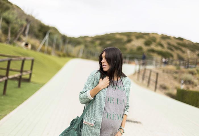 street style barbara crespo hakei green outfit jacket femme de la creme fashion blogger outfit blog de moda