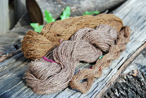 Finished handspun yarn from blended Shetland, Merino, Tussah silk