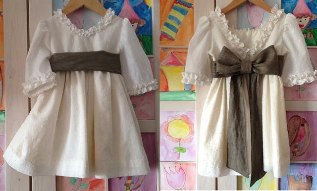 vestido plumeti con fajín lino