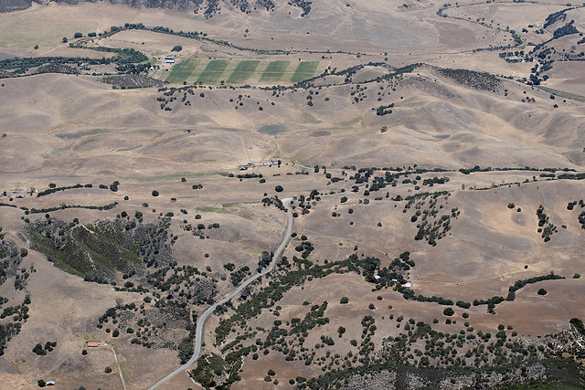 Aerial view of the San Andreas Fault, Bear Valley, San Benito County, California