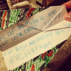 The boy's teacher wasn't the only one to get a sweet note, mine came in the shape of a camo airplane. #boys #birthday