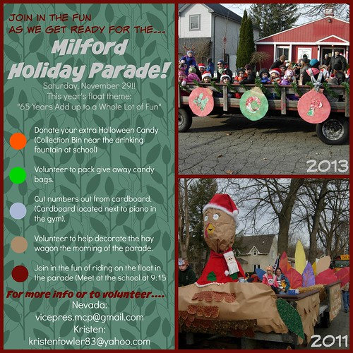 Milford Parade Float preparation poster