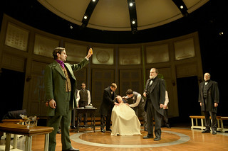 Tom Patterson, Nile Hawver, Greg Balla, Lee Sellars (seated), Richmond Hoxie, and Bill Kux in Elizabeth Egloff's provocative medical thriller ETHER DOME directed by Michael Wilson, playing Oct. 17 - Nov. 23, 2014 at the South End / Calderwood Pavilion at the BCA. Photo: Paul Marotta