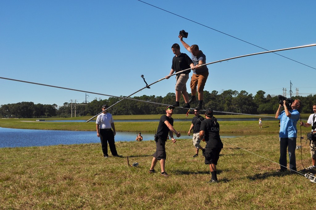 Father and Son. King of the High Wire, Nik Wallenda, Trains in Sarasota, Fla., in Preparation for His Nov. 2, 2014 Walk Across Chicago River. Taken: Oct. 18, 2014