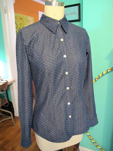 Polka Dot Chambray Button down