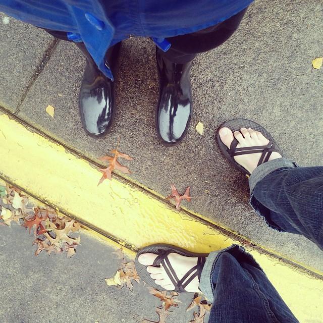 Morning walk in the rain. Jordan brave in sandals. #onedayhh