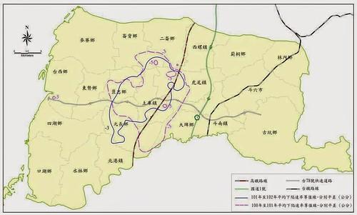 101-102年雲林縣的主要下陷範圍均在內陸地區,恰好在高鐵沿線附近。 (引用自成大地層下陷防治服務團)