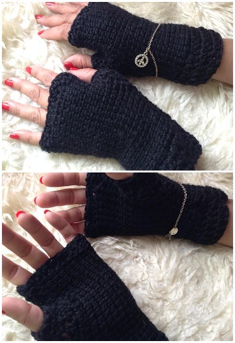 tejiendo guantes sin dedos, mitones