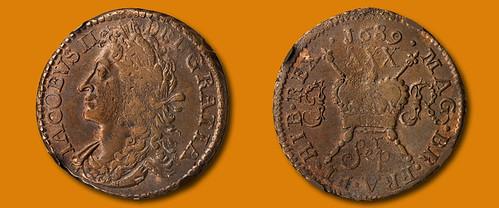 September 1689 ½ Crown Gun Money
