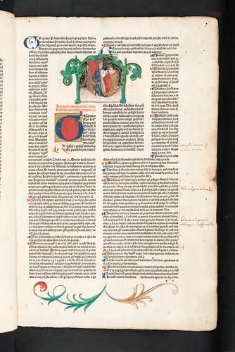 Historiated miniature in Gregorius IX, Pont. Max.: Decretales cum glossa