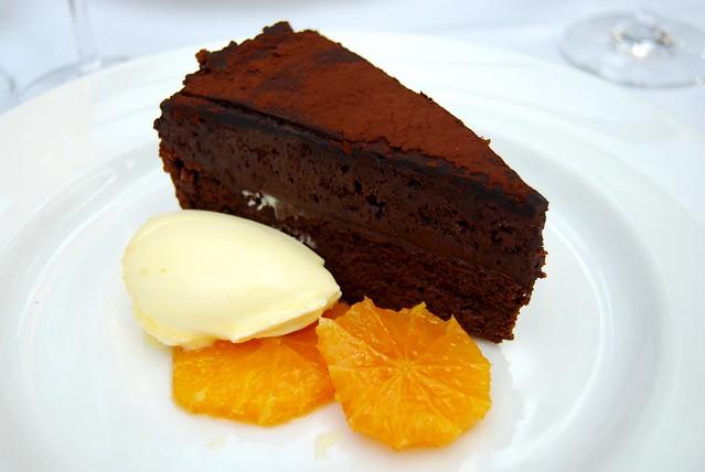 Chocolate Mousse Cake with Caramelised Orange & Cornish Clotted Cream at Roast, Borough Market