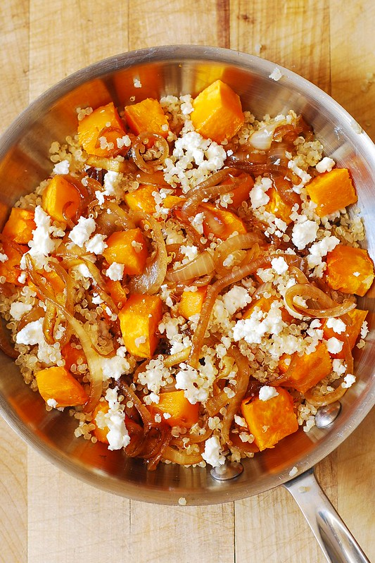 Quinoa with caramelized onions, caramelized onions butternut squash