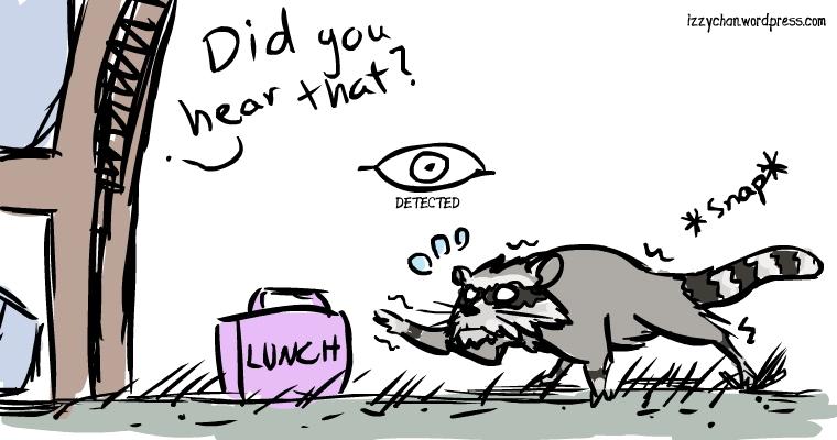 skyrim raccoon sneak detected did you hear that