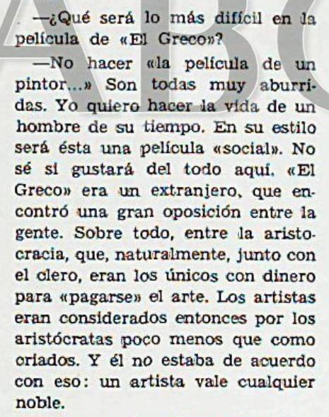 Extracto de la entrevista realizada por Miguel Veyrat a Mel Ferrer para Blanco y Negro publicada el 8 de agosto de 1964