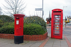 Wanstead station pillar and phone boxes