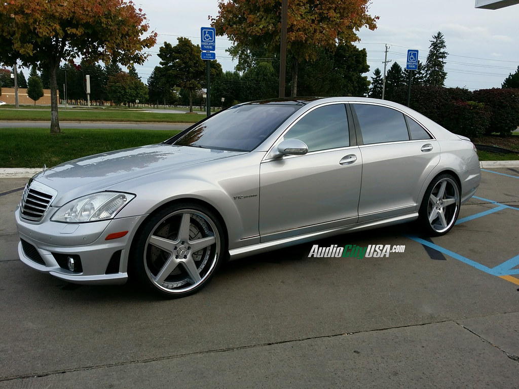 2008 mercedes benz s 65 amg on 22 azad a008 silver face chrome lip