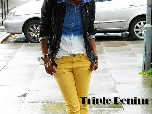 Triple denim: Ombre denim shirt, denim jeans & denim jacket