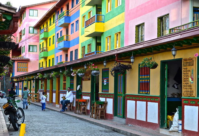 Colorful buildings of guatape colombia