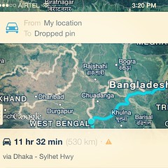 Google tells me it's only 12 hrs drive from my college to my home... Google is high I think!