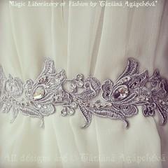#wedding #weddinggown #weddingsash #sash #belt #etsy #sale #lily #flower #floral #crystal #swarovski #silver #lace #venice #venise #fashion #elegant #romance #love