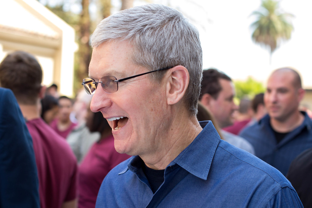 Apple CEO Tim Cook at the iPhone 6 and Apple Watch unveiling in Cupertino, CA.