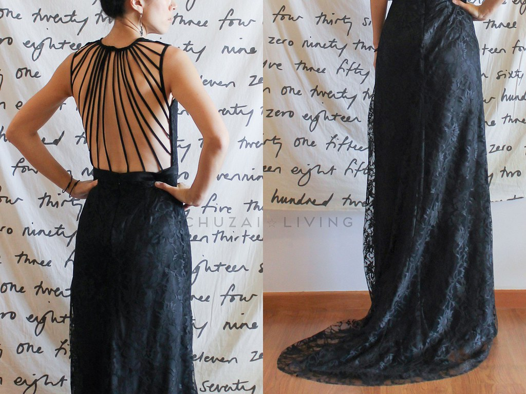 Black lace gown with string back2
