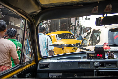 in taxi in traffic