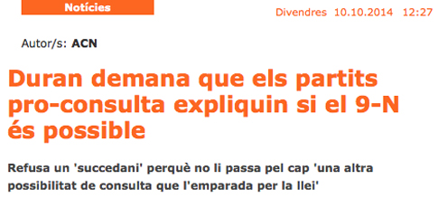 14j12 Duran pide a Mas y Junqueras si es posible consulta 9 N